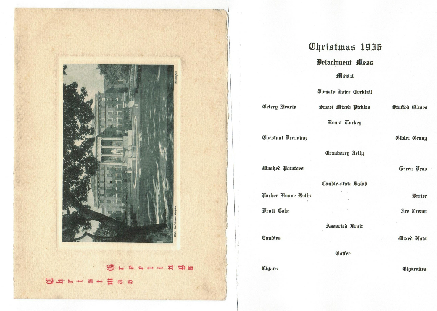 Walter Reed Christmas Menu 1936
